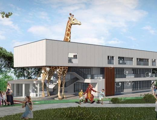 学校, 幼儿园, 建筑, 操场, 植物