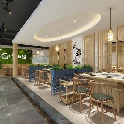 餐厅, 餐桌, 餐椅, 摆件, 吊灯, 前台, 单人椅, 墙饰, 现代