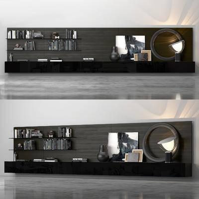 电视柜, 装饰架, 书籍, 陶瓷, 摆件, 装饰品, 现代电视柜装饰架书籍陶瓷摆件组合
