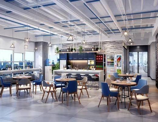 工业风办公茶水间休息区, 休闲区, 单椅, 吧台, 吊灯, 工业风
