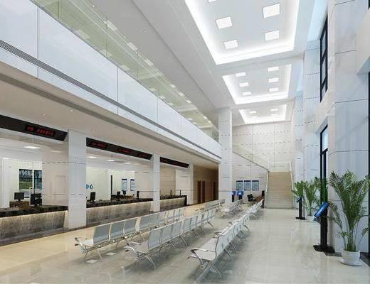 办证大厅, 点按哦卓, 办公椅, 单人椅, 盆栽, 绿植植物, 现代