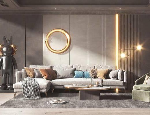 沙发组合, 墙饰, 抱枕, 茶几, 单椅, 落地灯