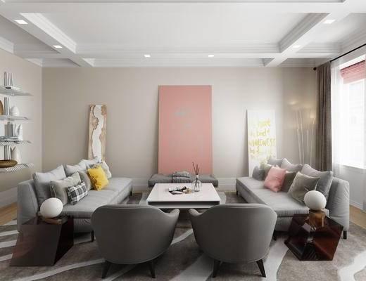 北欧客厅, 客厅, 沙发组合, 布艺沙发, 单椅, 挂画, 茶几, 抱枕