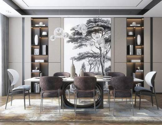 现代, 餐桌椅, 吊灯