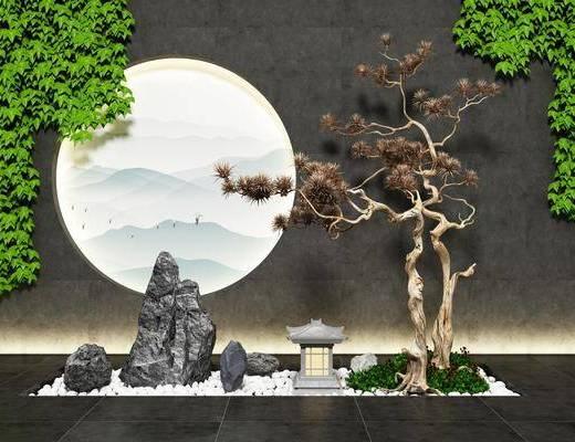 园艺小品, 假山松树, 绿植景观, 新中式