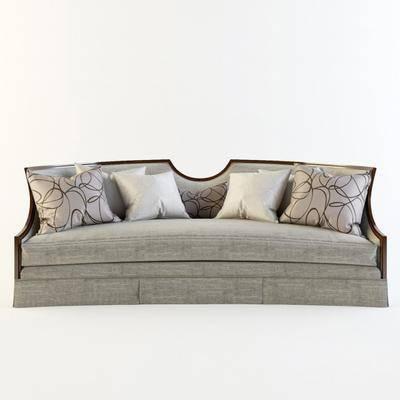 中式布艺多人沙发, 中式, 布艺沙发, 抱枕, 沙发