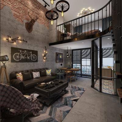 工业风, 客厅, 餐厅, 沙发, 茶几, 砖墙, 跃层, 台灯, 卧室, 双人床, 书桌椅