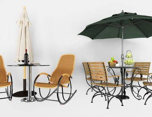 遮阳伞, 户外休闲椅组合, 现代