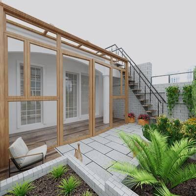 现代, 花园, 露台, 阳台