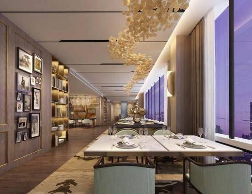 酒店餐厅, 桌椅组合, 餐桌, 餐椅, 单人椅, 餐具, 装饰柜, 书柜, 书籍, 摆件, 装饰品, 陈设品, 照片墙, 现代