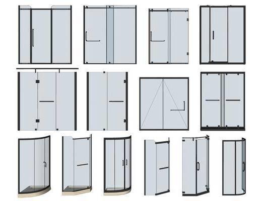 隔断组合, 玻璃门, 卫浴门
