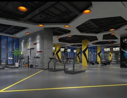 工业风健身房, 跑步机, 工业风, 管道, 健身房, 植物