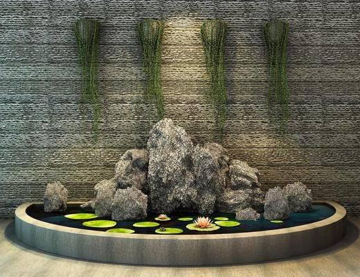 中式假山水池, 绿植, 假山, 中式