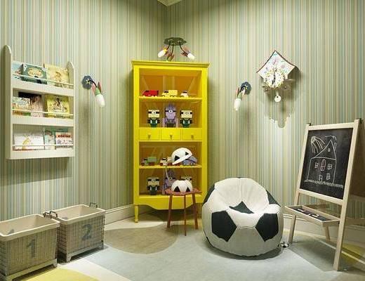 儿童房, 装饰柜, 脚踏沙发, 玩具, 摆件, 装饰品, 陈设品, 墙饰, 北欧