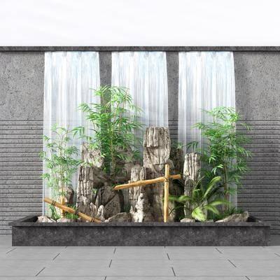 假山流水, 竹子流水, 景观流水墙, 流水景观, 鱼池, 新中式