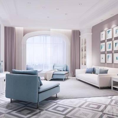 北欧客厅, 客厅, 沙发组合, 椅子, 布艺沙发, 电视柜