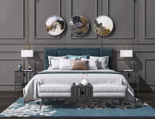 床具组合, ?#37096;?#30011;组合, 吊灯组合, 新中式