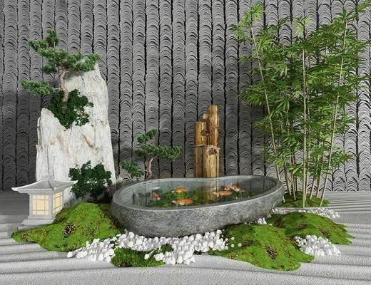 园艺小品, 竹子假山, 水景, 树木, 新中式