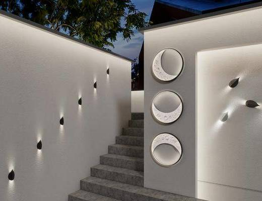 新中式户外月亮树叶金属壁灯