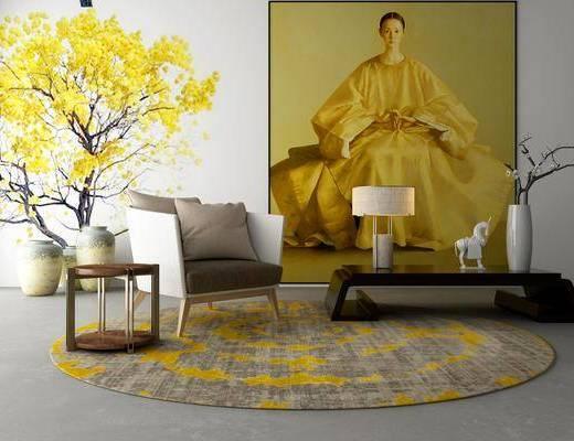 单人沙发, 茶几, 台灯, 拜年祭, 装饰画, 壁画, 挂画, 花瓶, 花卉, 休闲沙发, 桌子, 新中式