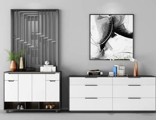 后现代鞋柜边柜组合, 鞋柜, 边柜, 挂画, 后现代