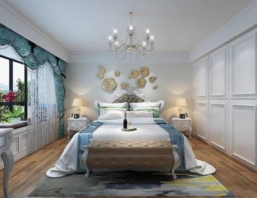 欧式风格, 主卧室, 次卧室, 欧式卧室, 床尾凳, 吊灯