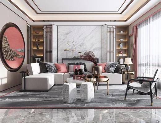 沙发组合, 沙发茶几组合, 摆件组合, 新中式