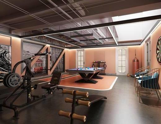 健身房, 健身室, 台球, 单人椅, 健身器材, 工业风