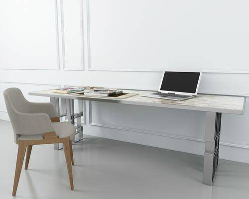办公桌, 办公椅, 单人椅, 书桌, 摆件, 现代