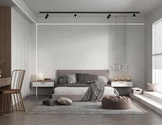 双人床, 床头柜, 摆件组合, 梳妆台, 地毯