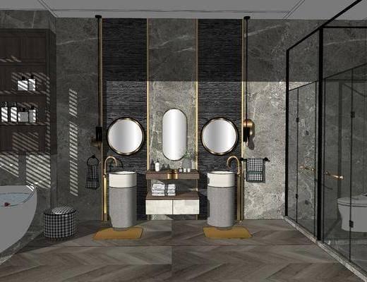卫浴组合, 洗浴组合, 洗手盆, 马桶, 壁镜