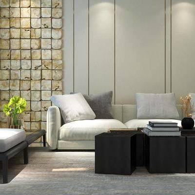 沙发组合, 现代沙发, 多人沙发, 茶几, 沙发茶几组合