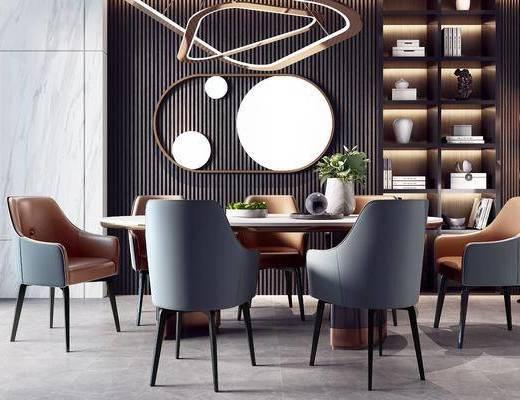 餐桌, 桌椅组合, 吊灯, 墙饰, 花瓶