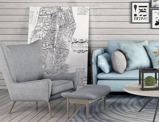 北欧, 现代, 沙发组合, 沙发茶几组合, 装饰画, 挂画, 茶几, 边几, 台灯, 挂钟