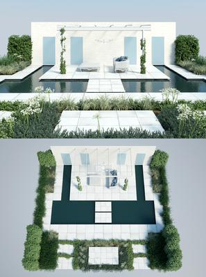 花园庭院, 绿植, 植物, 多人沙发, 茶几, 草地, 现代