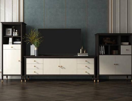 电视柜组合, 边柜, 摆件, 装饰品, 陈设品, 美式