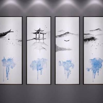 中式装饰挂画, 中式山水画, 中式水墨画, 新中式, 中式, 挂画, 装饰画