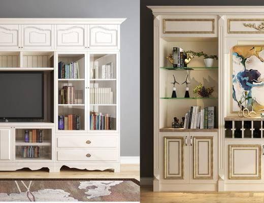装饰柜, 书籍, 装饰品, 陈设品, 装饰画, 边柜, 美式