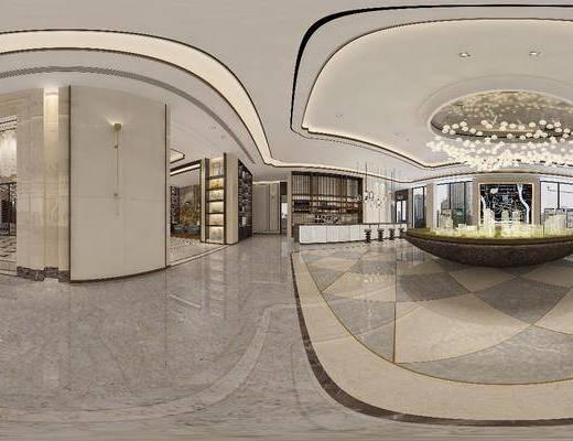 售楼部, 工装全景, 吊灯, 单人椅, 壁灯, 装饰柜, 摆件, 装饰品, 陈设品, 水晶吊灯, 现代