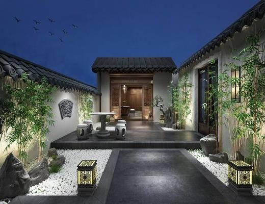 竹子, 石桌椅, 茶室, 屋檐, 花窗, 地灯