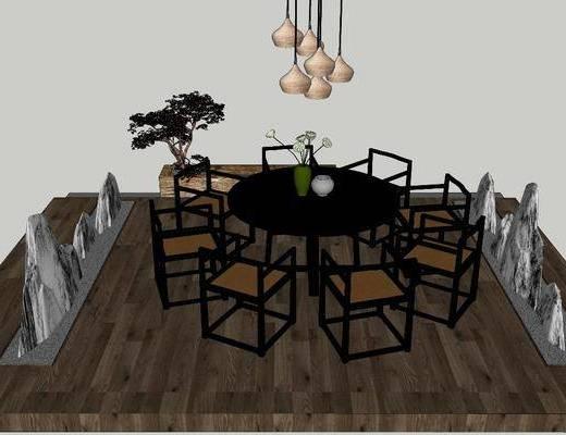 餐桌, 桌椅组合, 植物, 假山