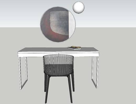 写字台, 桌椅组合, 壁镜, 摆件组合