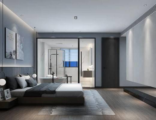 卧室, 现代卧室, 床具组合, 衣柜, 衣服, 双人床, 浴缸, 卫浴, 吊灯, 现代, 现代简约