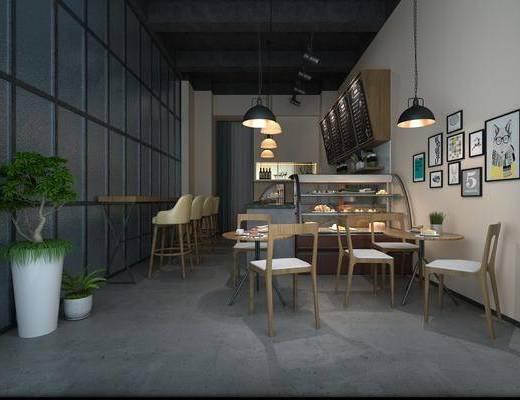 面包店, 甜品店, 桌椅组合, 吧台椅组合, 货架, 挂画组合, 盆栽组合, 吊灯组合, 面包食品, 工业风