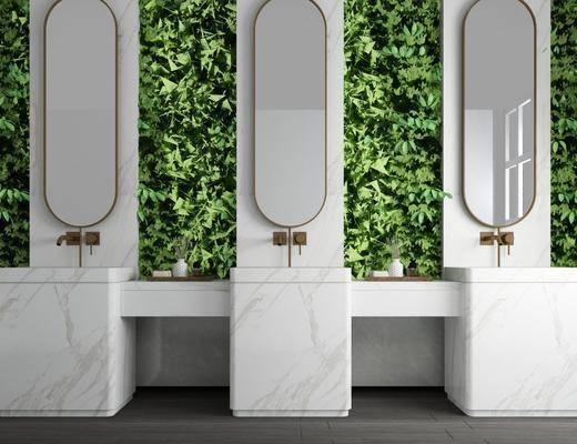 卫生间, ?#35789;?#21488;, 装饰镜, 植物墙, 绿植植物, 现代