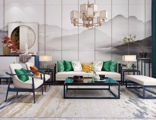 沙发组合, 多人沙发, 茶几, 躺椅, 单人沙发, 边几, 台灯, 吊灯, 边柜, 花瓶花卉, 盆栽, 绿植植物, 摆件组合, 新中式