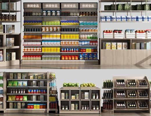 商场货架, 食物架组合, 食品, 酒瓶, 水果, 现代