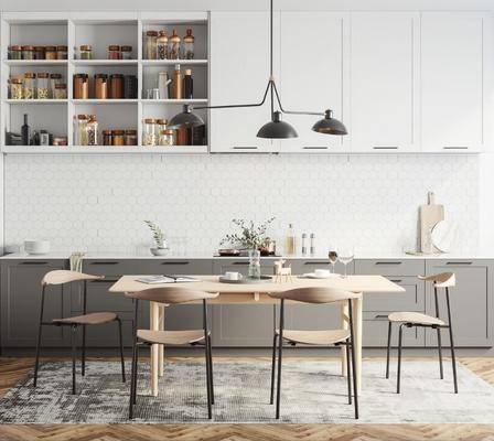 北欧餐厅, 北欧餐桌, 北欧餐椅, 吊灯, 摆件