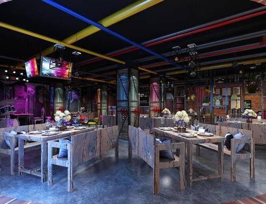 餐厅, 餐桌椅, 桌椅组合, 餐具, 工业风, 餐饮