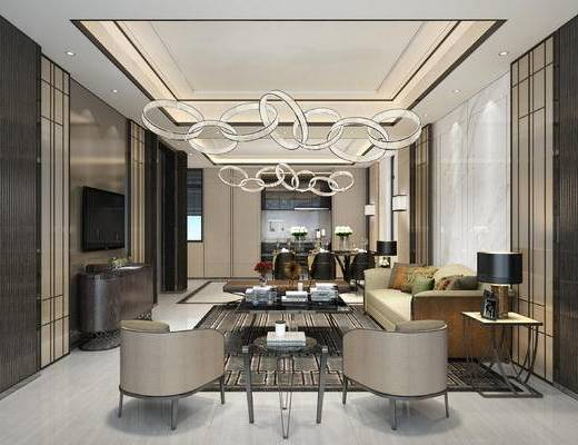 客厅, 客餐厅, 后现代客餐厅, 沙发组合